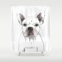 french bulldog Shower Curtains featuring FRENCH BULLDOG by Catalina Graphic