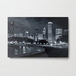 Chicago Night Skyline Metal Print