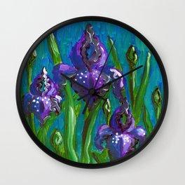 Iris by Mary Bottom Wall Clock