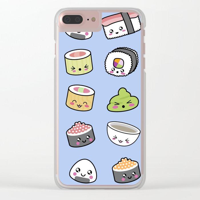 Happy kawaii sushi pattern Clear iPhone Case