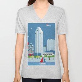 San Diego, California - Skyline Illustration by Loose Petals Unisex V-Neck