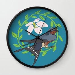 Floral Bird Illustration Spring Print Wall Clock