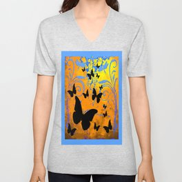 Black Butterfly Migrating Blue-Brown Fantasy Art Unisex V-Neck