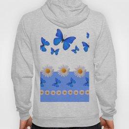 BABY BLUE MODERN ART BLUE BUTTERFLIES & WHITE DAISIES Hoody