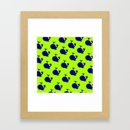 Little Whale (green) Framed Art Print