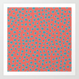 Living Coral and Turquoise, Teal Polka Dots Art Print