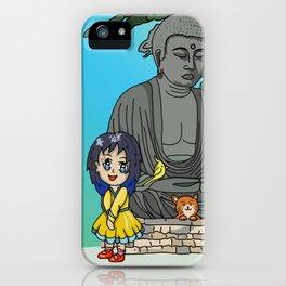 kawaii girl and her cat visit the daibutsu giant Buddha iPhone Case
