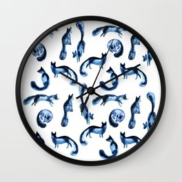 A pack of silver foxes. Wall Clock