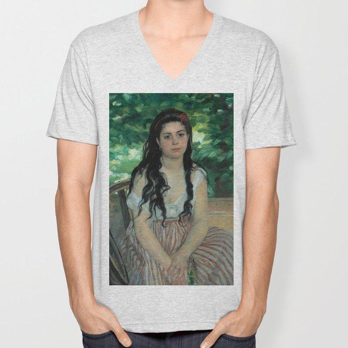 """Auguste Renoir """"En été - La bohémienne (In summer - Gypsy woman)"""" Unisex V-Neck"""