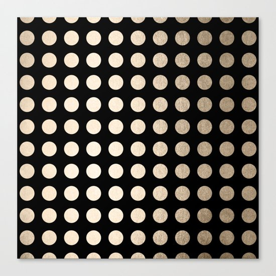 White Gold Sands Polka Dots on Midnight Black Canvas Print