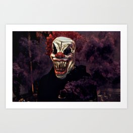 Scary Clown Purple Smoke Art Print