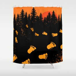 Bigfoot Tracks At Sunset Shower Curtain
