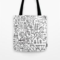 writing Tote Bags featuring ALIEN WRITING by Matthew Taylor Wilson