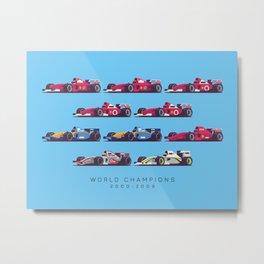 F1 World Champions 2000s - Blue Metal Print