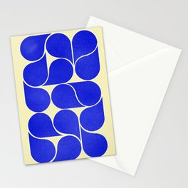 Blue mid-century shapes no8 Stationery Cards