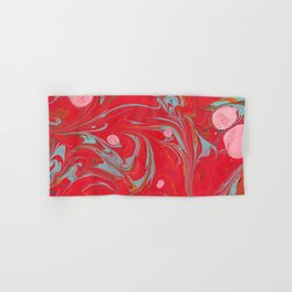 Red Marbled Hand & Bath Towel