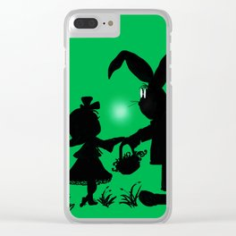 Silhouette Easter Bunny Gift Clear iPhone Case