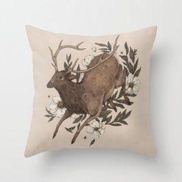 Floral Elk Throw Pillow