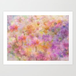 Sophisticated Painterly Floral Abstract Art Print
