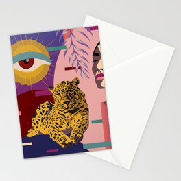 The Big Eye Leopard abstract Stationery Cards