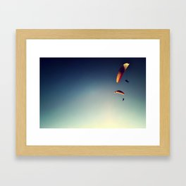 two paragliders from above Framed Art Print
