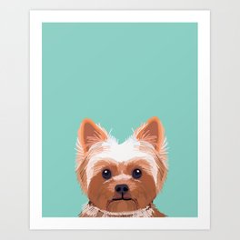 Yorkshire Terrier dog portrait pink cute art gifts for yorkie dog breed lovers Art Print