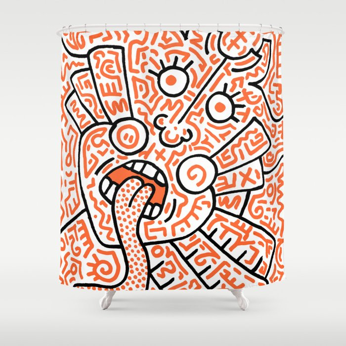 """""""The Face"""" - inspired by Keith Haring v. orange Shower Curtain"""