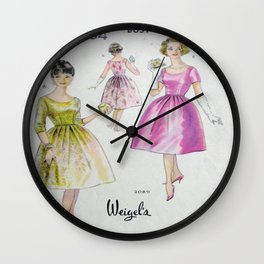 Retro Fashion Pink and Yellow Wall Clock
