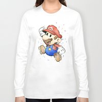 mario bros Long Sleeve T-shirts featuring Mario Watercolor by Olechka