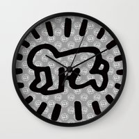 keith haring Wall Clocks featuring Keith Haring: Radiant Baby from Icons series, 1990 by cvrcak