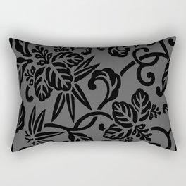 Slate Gray & Black Japanese Leaf Pattern Rectangular Pillow