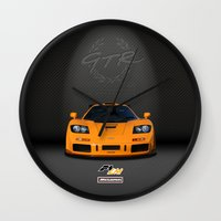 f1 Wall Clocks featuring 1995 McLaren F1 LM  by vsixdesign