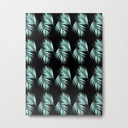Palm Leaves Pattern #2 #Mint #Black #decor #art #society6 Metal Print