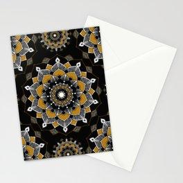 Mandala Golden Spirit Spiritual Zen Bohemian Hippie Yoga Mantra Meditation Stationery Cards