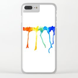Rainbow Splatters Clear iPhone Case