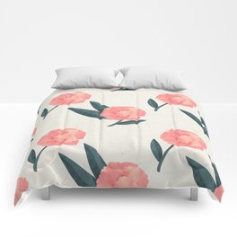 Seamless Beautiful Pink Red Peony Flower Pattern Comforters