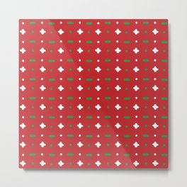 Christmas vector green and white horizontal and vertical stitches aligned on red background seamless Metal Print