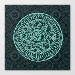 Blue Doodle Mandala Canvas Print