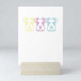 Neon Schnauzer Dog Mini Art Print
