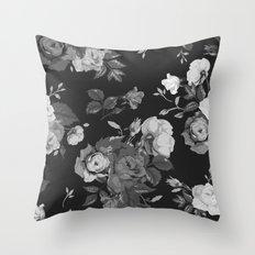 Black & White Vintage Flower Print Throw Pillow