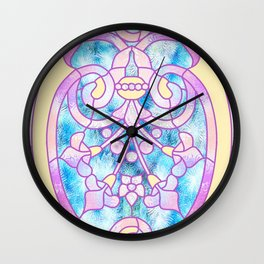 Art Nouveau Blue Pink and Yellow Batik Design Wall Clock