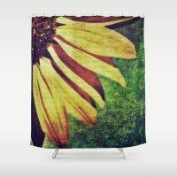 fleur de lis Shower Curtains featuring Sunflower Fleur De Lis by minx267