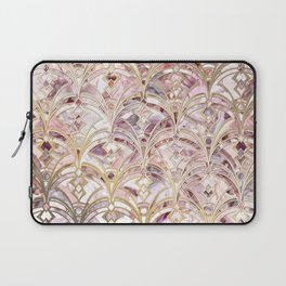 Dusty Rose and Coral Art Deco Marbling Pattern Laptop Sleeve