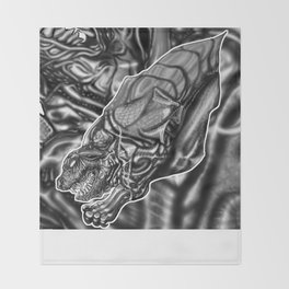 Feral Greyscale - Giger Tribute Throw Blanket