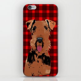 Airedale Terrier Dog on stripes iPhone Skin