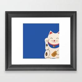 Blue Lucky Cat Maneki Neko Framed Art Print