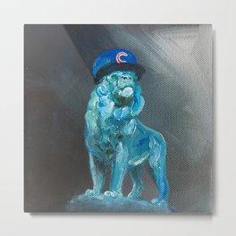 Art Institute Lion Wears Cubs Hat Metal Print