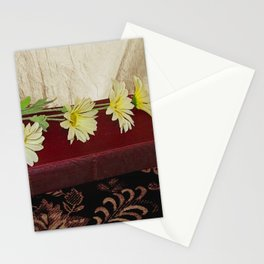 Daisy Flowers on Red Book Library Art A223 Stationery Cards