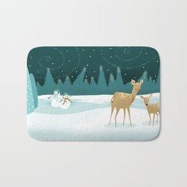 Deer Christmas Snowmen Bath Mat