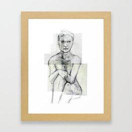 sitting nude Framed Art Print
